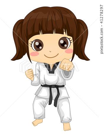 Kid Girl Extra Curricular Taekwondo Illustration 41278297