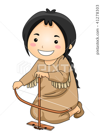 Kid Girl Indian Make Fire Illustration 41278303