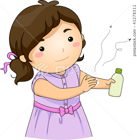 Kid Girl Mosquito Repellent Lotion Illustration 41278311