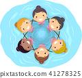 Stickman Kids Girls Synchronized Swimming Team 41278325