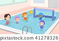 Stickman Kids Girls Water Polo Illustration 41278326