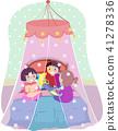 Stickman Kids Bed Net Illustration 41278336
