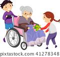 Stickman Kids Nursing Home Volunteers Illustration 41278348