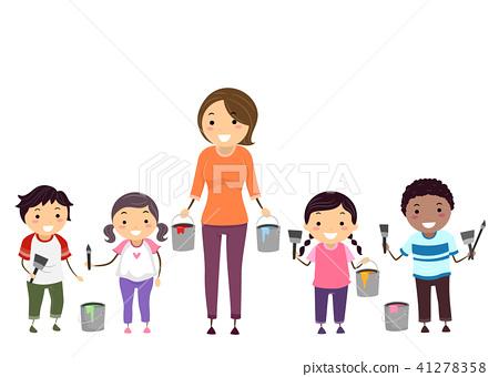 Stickman Kids Teacher Paint Tools Mural 41278358