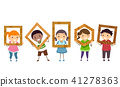 Stickman Kids Wood Class Frames Illustration 41278363