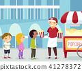 Stickman Kids Buy Popcorn Vendor Illustration 41278372