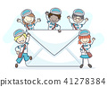 Stickman Kids Mail Man Letter Illustration 41278384