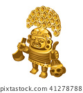 Inca indian ritual figurine from gold, a symbol of sacrifice is isolated on a white background 41278788