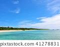 오키나와 푸른 하늘과 푸른 바다의 하 테루 마 섬 41278831