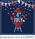 Happy Independence day, 4th July national holiday. Festive greeting card, invitation with bunting 41280001