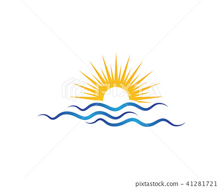 Sun With Water wave icon vector 41281721