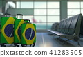 Travel suitcases featuring flag of Brazil. Brazilian tourism conceptual 3D rendering 41283505