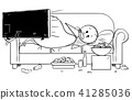 Cartoon of Fat or Overweight Man Lying on Couch, Watching Tv and Eating 41285036
