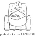 Cartoon of Fat or Overweight Man Sitting on Armchair, Watching Tv and Eating 41285038