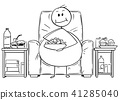 Cartoon of Fat or Overweight Man Sitting on Armchair, Watching Tv and Eating 41285040