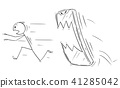 Cartoon of Man or Businessman Chased by His Mobile Phone 41285042