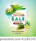 Summer Sale Design with Flower and Exotic Leaves on Nature Green Background. Tropical Floral Vector 41285145