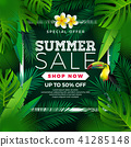 Summer Sale Design with Flower, Toucan and Exotic Leaves on Green Background. Tropical Floral Vector 41285148