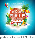 Summer Sale Design with Flower and Beach Holiday Elements on Blue Background. Tropical Floral Vector 41285152