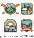Set of Summer camp badges. Vector. Concept for shirt or logo, print, stamp, patch or tee. 41286746