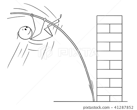 Cartoon of Man or Businessman Doing Pole Vaulting to Overcome Obstacle 41287852