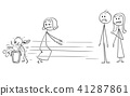 Cartoon of Ill-Mannered Child Looking for Gift Instead of Welcoming Grandmother 41287861