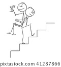 Cartoon of Man or Businessman Carrying Another Man or Boss Upstairs 41287866