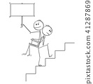 Cartoon of Man or Businessman Carrying Another Man or Boss With Empty Sign Upstairs 41287869
