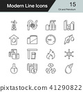 Oil and Petrolium icons. Modern line design set 15 41290822