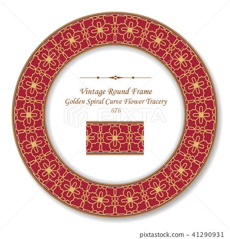 Vintage Round Retro Frame oriental style pattern 41290931