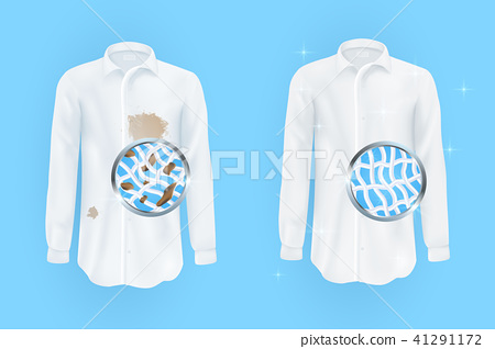white shirt with dirty brown spots and clean on blue background 41291172