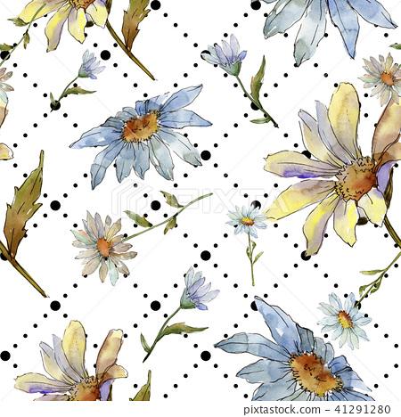Wildflower Daisy Seamless Background Pattern Stock