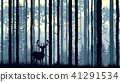 Illustration of deer in pinewood forest. 41291534