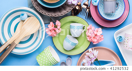 Tableware dish set on blue pastel background 41292532