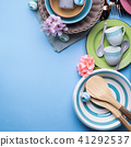 Tableware dish set on blue pastel background 41292537