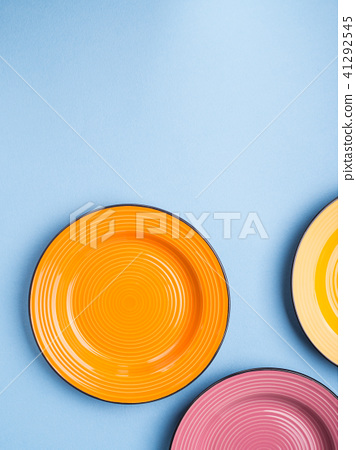 Colorful ceramic dishes. Flat lay 41292545
