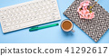 Keyboard, notebook, pen, coffee. Writing concept 41292617