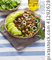 Quinoa salad bowl with cucumbers, chickpeas 41292628