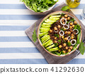 Quinoa salad bowl with cucumbers, chickpeas 41292630