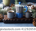 Coffee over Christmas winter background 41292659
