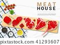Raw beef steaks with seasoning on cutting board 41293607