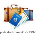 Retro suitcases, passport and airline tickets 41293997