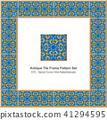 Antique ceramic retro tile frame pattern set 41294595