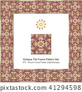 Antique ceramic retro tile frame pattern set 41294598