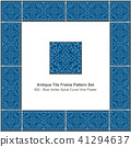 Antique ceramic retro tile frame pattern set 41294637