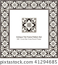 Antique ceramic retro tile frame pattern set 41294685