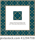 Antique ceramic retro tile frame pattern set 41294708