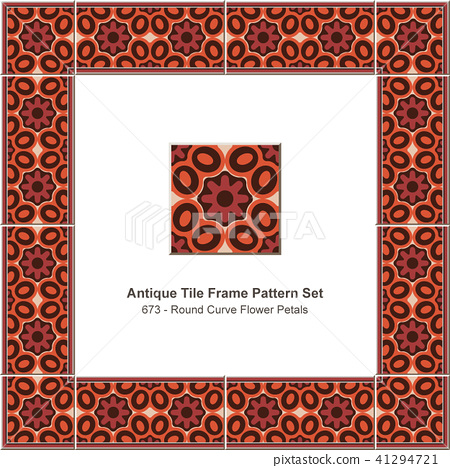 Antique ceramic retro tile frame pattern set 41294721