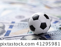 Soccer ball on dollar banknotes 41295981