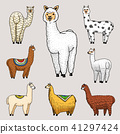 Set of cute Alpaca Llamas or wild guanaco on the background of Cactus and mountain. Funny smiling 41297424